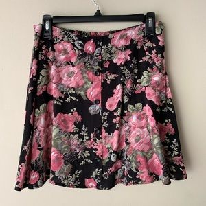 Floral Skirt with Button Detail